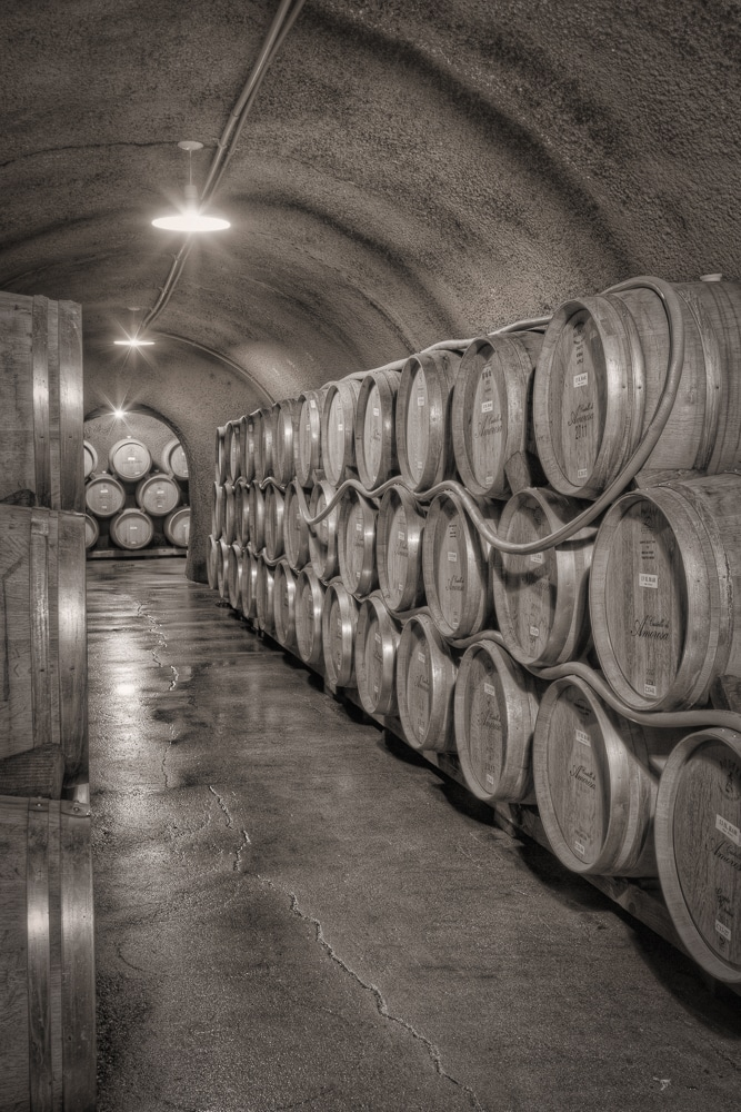 Wine Cave with Barrels | Castello di Amorosa | Calistoga | California