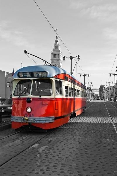Red Streetcar in San Francisco | California