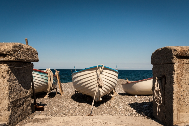 Abandoned Fishing Boats on Canneto Beach | Lipari | Aeolian Islands | Sicily | Italy
