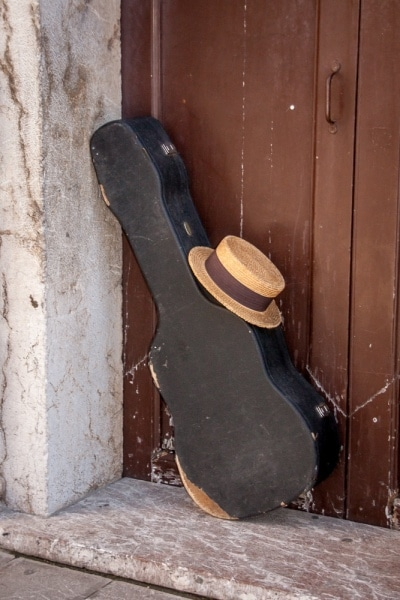 Abandoned Guitar Case and Hat in Taormina | Sicily | italy