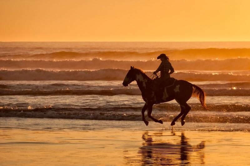 Woman Horsebackriding on the Beach at Sunset | Morro Strand State Beach | Morro Bay | California
