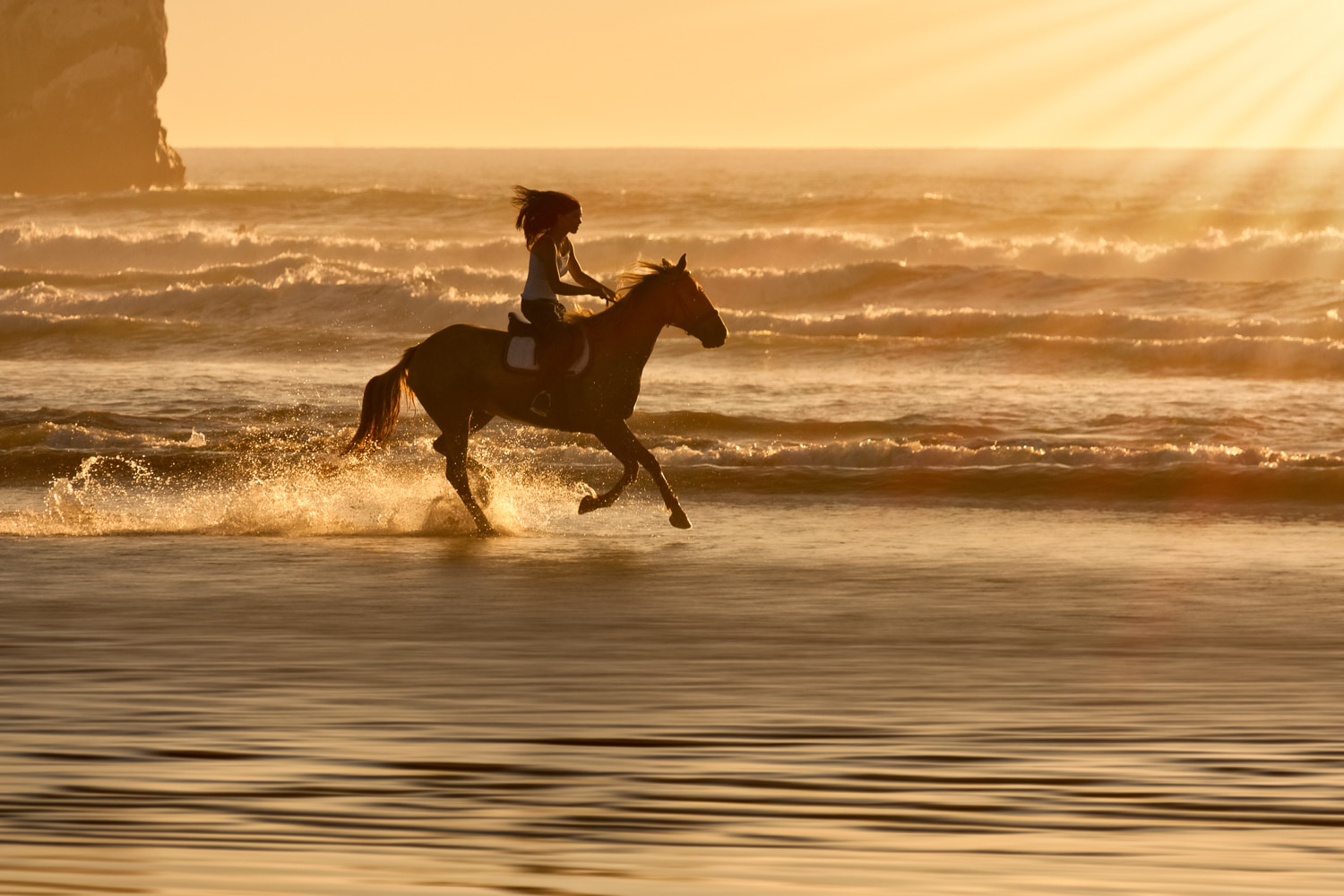 Girl Horsebackriding on the Beach at Sunset | Morro Strand State Beach | Morro Bay | California