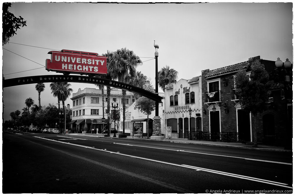 University Heights Trolley Sign | Selective Color Black and White | San Diego, CA