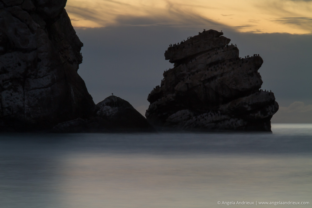 Morro Bay, CA | Nixon Rock at sunset | Long Exposure