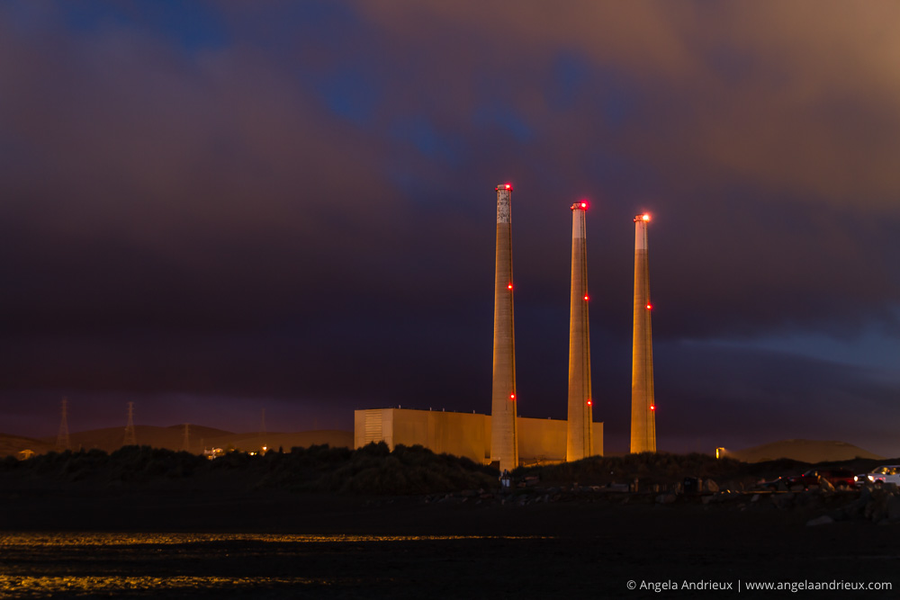 Morro Bay Power Plant Smoke Stacks at Night