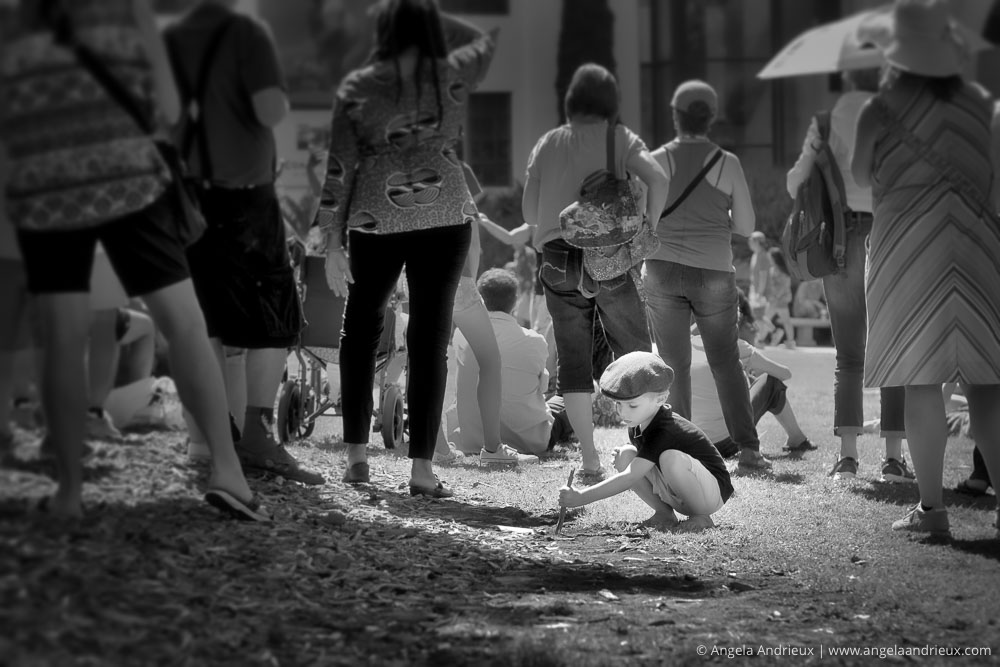 Little by playing in the dirt at the feet of adults | Balboa Park | San Diego, CA | Scott Kelby Worldwide Photo Walk 2015