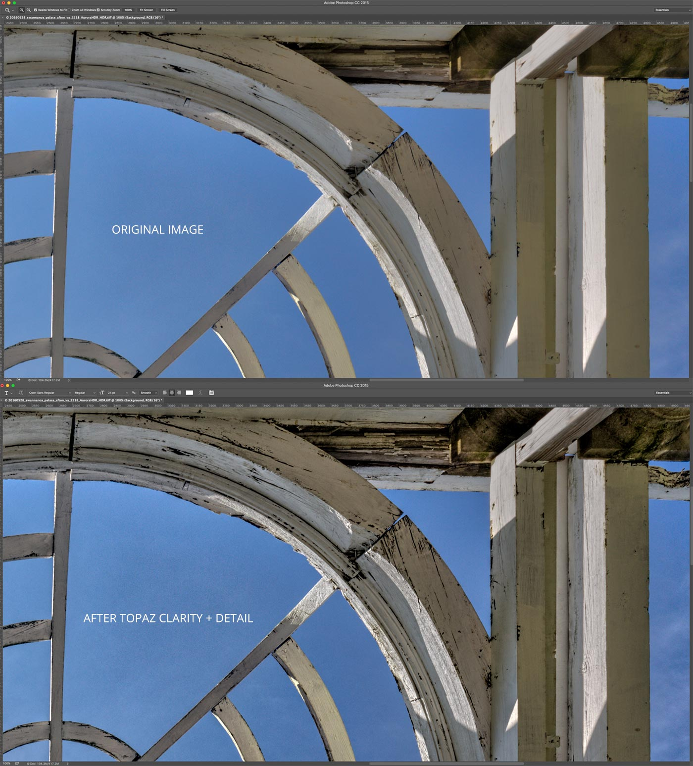 Before & After Topaz Clarity & Detail | Swannanoa Palace | Garden Dome | Afton, VA | Screenshot