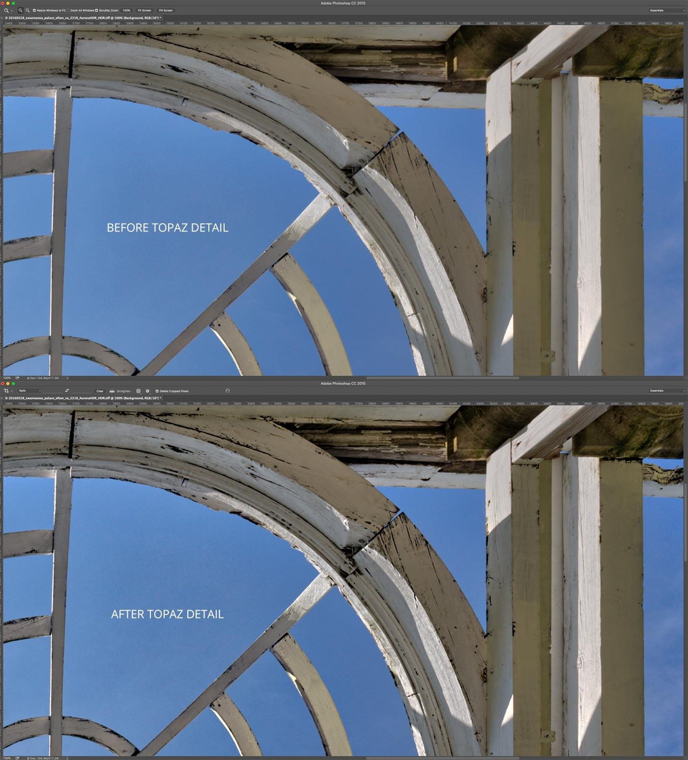 Before & After Topaz Detail | Swannanoa Palace | Garden Dome | Afton, VA | Screenshot