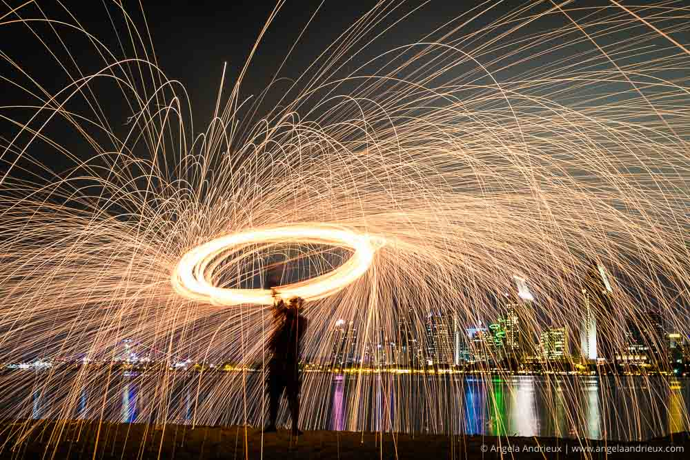 Steel Wool Photography on Coronado Island with the San Diego Skyline as a Backdrop