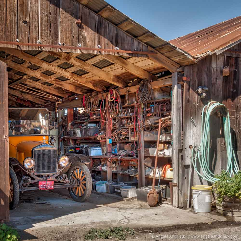 Yellow Vintage Car in Barn | Horseless Carriage | Sunny Acres | San Luis Obispo, CA