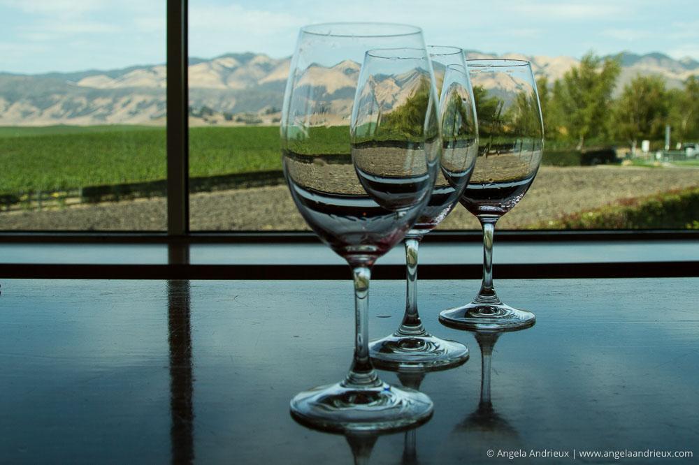 Wine glasses in the tasting room | Edna Valley Vineyard | San Luis Obispo, CA | Edna Valley Wine Tasting