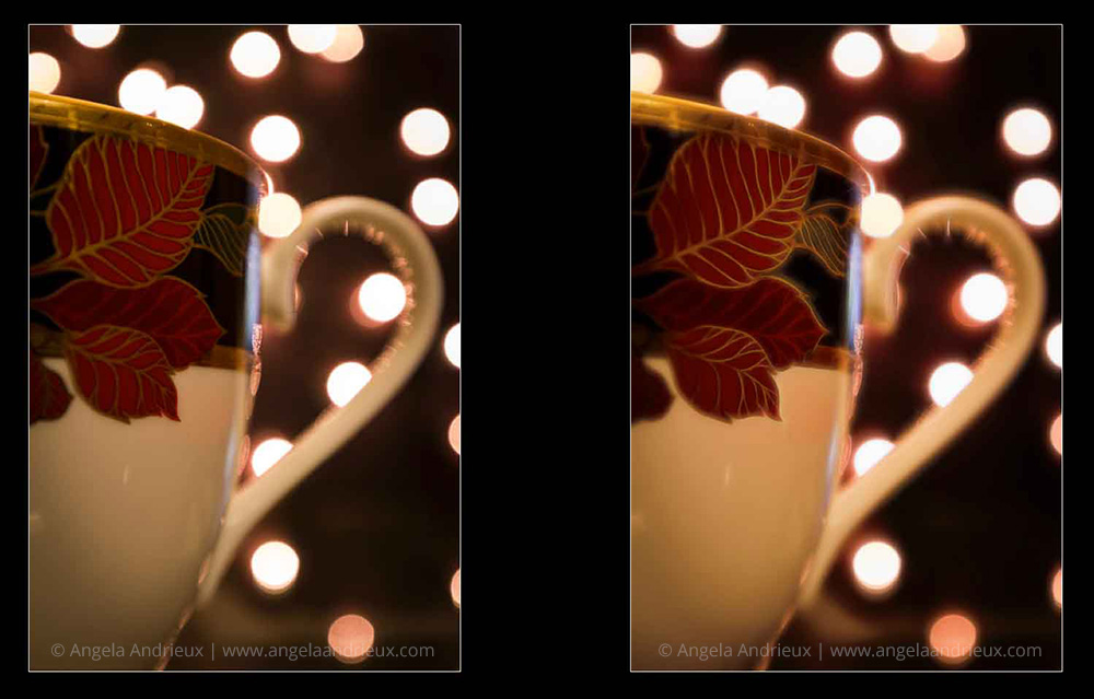 Topaz Glow | Coffee Tea Mug Cup Bokeh | Before & After
