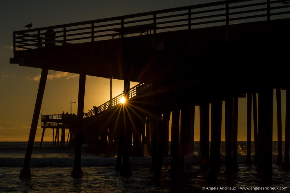 Pismo Beach Pier Sunburst Silhouette