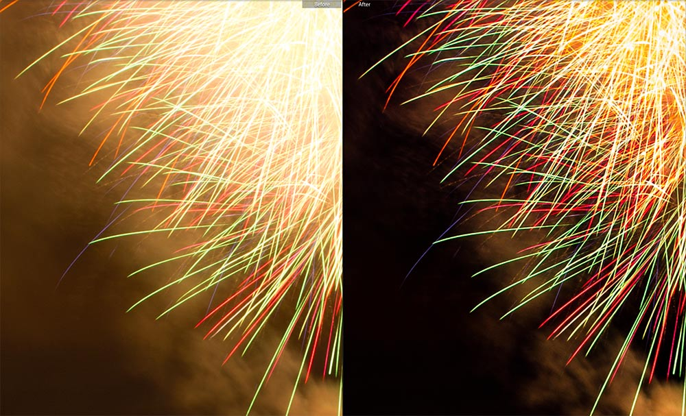 Fireworks Before and After Lightroom Dehaze