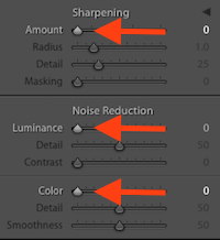 Lightroom Detail Panel Screenshot | Prep for Noise Removal in Noiseless