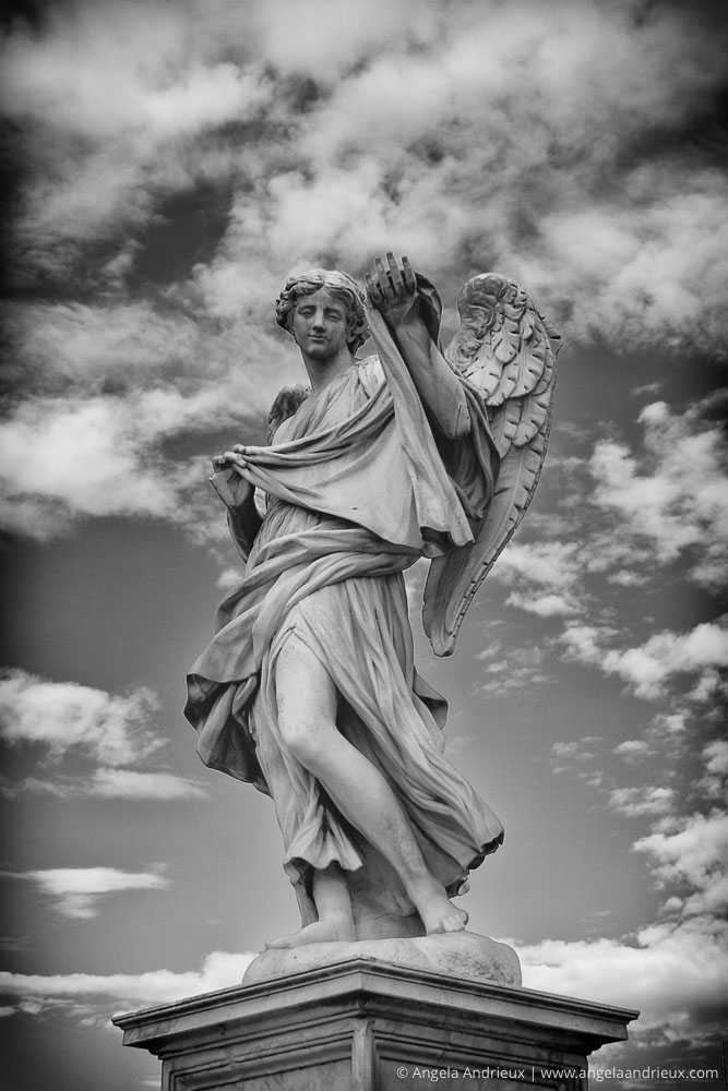 Black and White Angel on the Ponte Sant Angelo | Rome | Italy