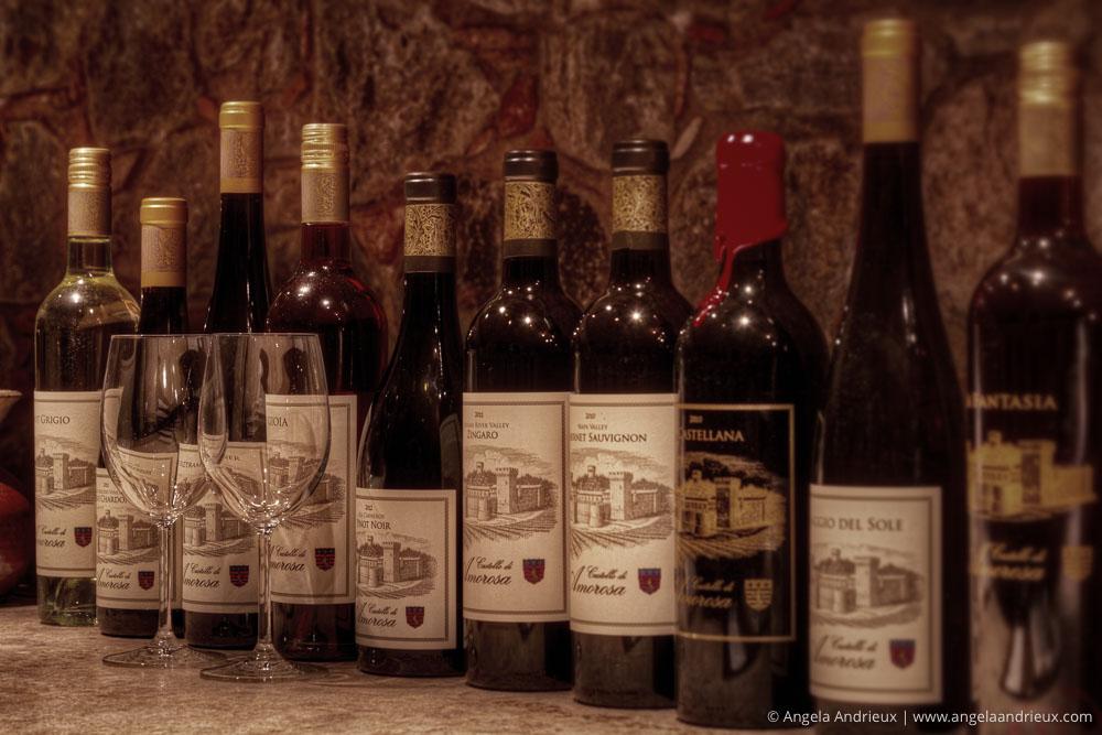 Wine Bottles and Wine Glasses in the Wine Cave Cellar of Castello di Amorosa | Napa Valley | Calistoga, CA
