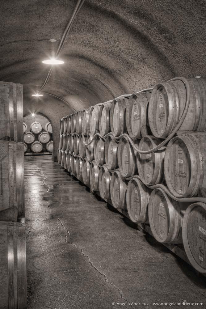 Wine Barrels Stacked in the Wine Cave Cellar of Castello di Amorosa | Napa Valley | Calistoga, CA