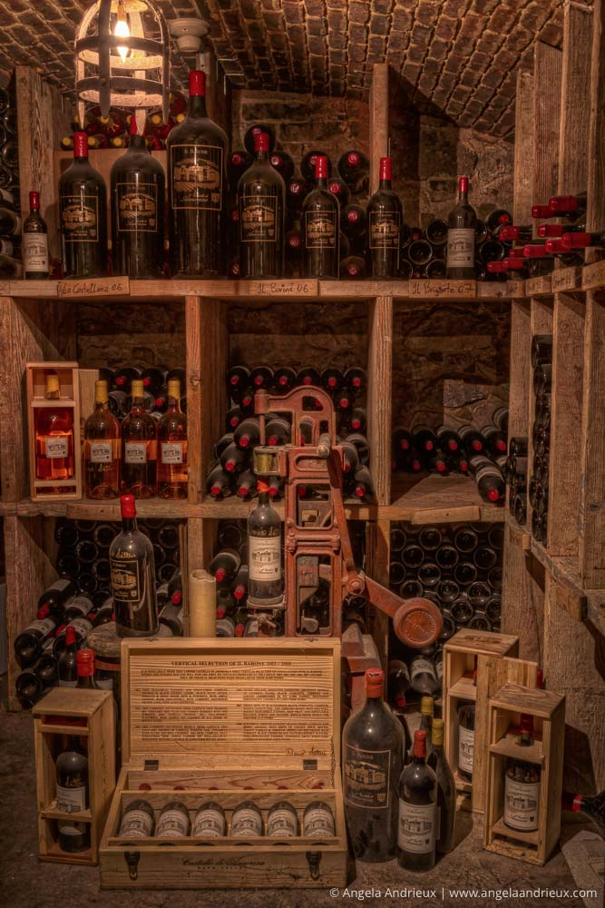 Wine Bottles Stacked in the Wine Cave Cellar of Castello di Amorosa | Napa Valley | Calistoga, CA
