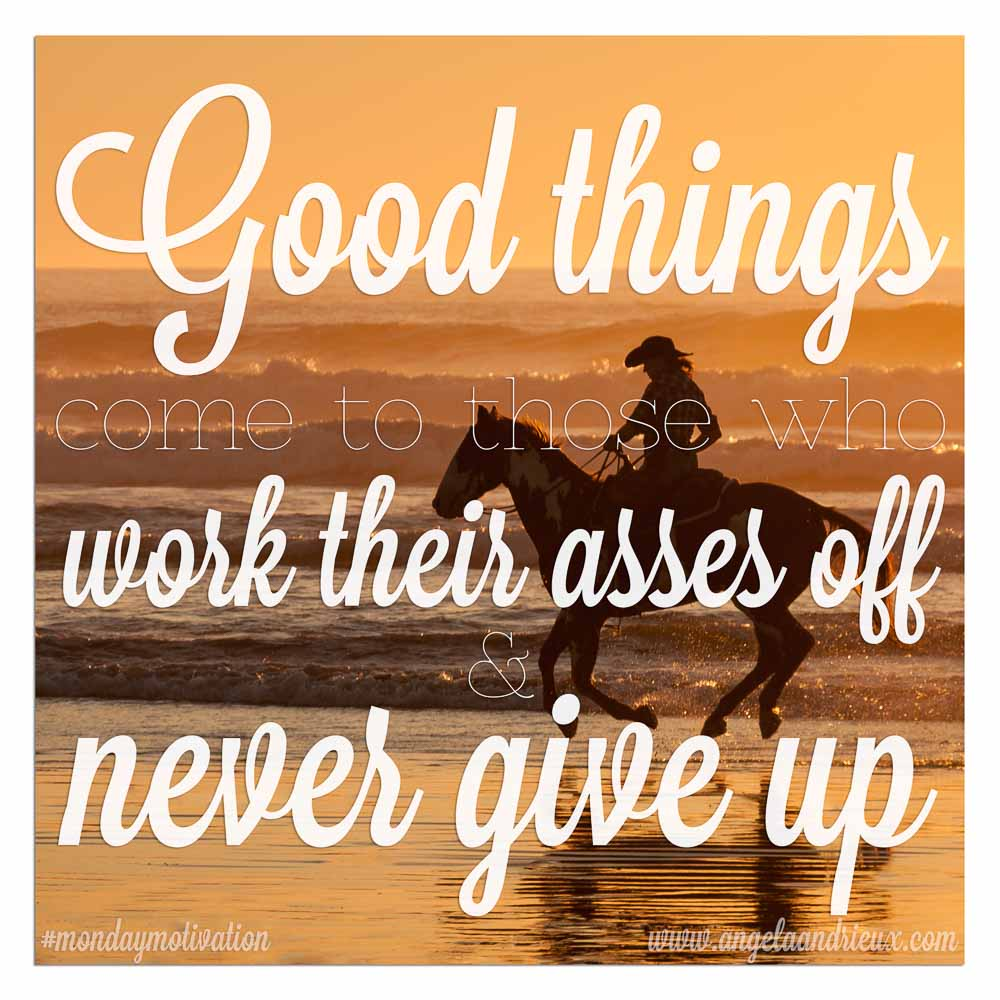 """Good things come to those who work their asses off & never give up."" Author Unknown"