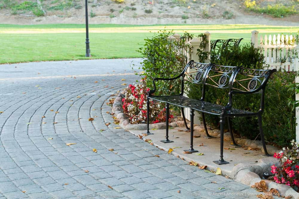 Bench in Heritage Park Victorian Village | San Diego, CA | Original with Lightroom Adjustments