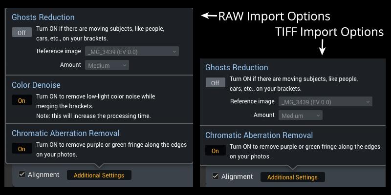 RAW vs TIFF Import Screen Shot Aurora HDR 2017