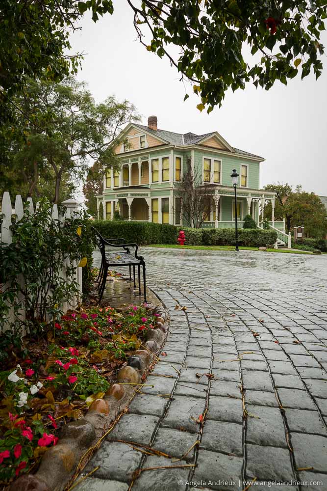 Rainy day at Heritage Park Victorian Village in Old Town San Diego