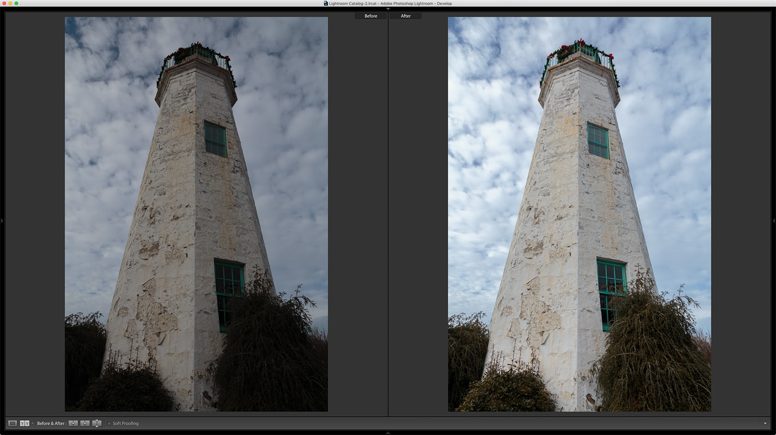 Old Point Comfort Lighthouse before and after Lightroom Screenshot