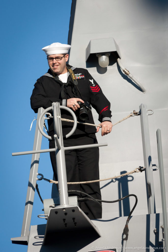 Sailor on the USS Sterett as it prepares to depart for deployment in December of 2011