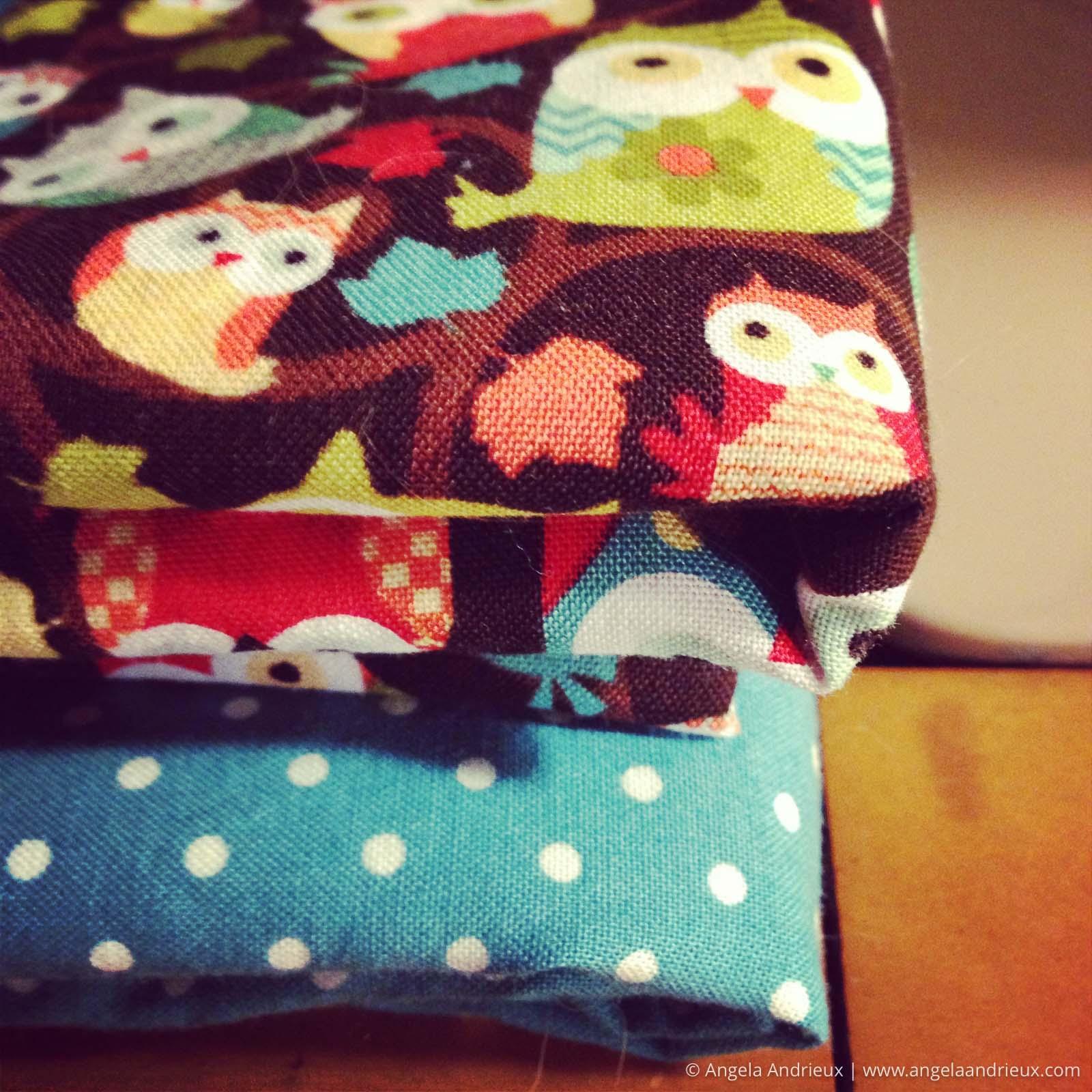 owl and polka dot fabric