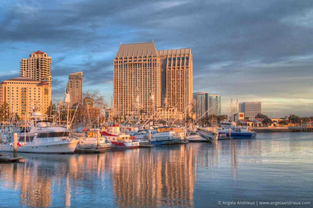 San Diego Waterfront Marina with Sunset Glow