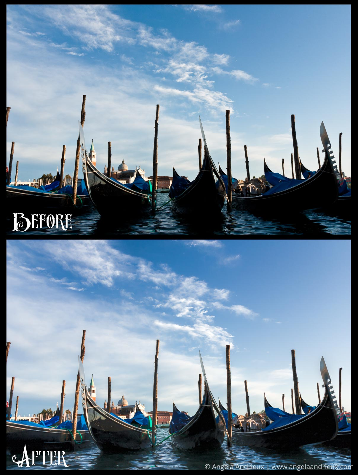 Venetian Gondolas before and after Topaz Clarity