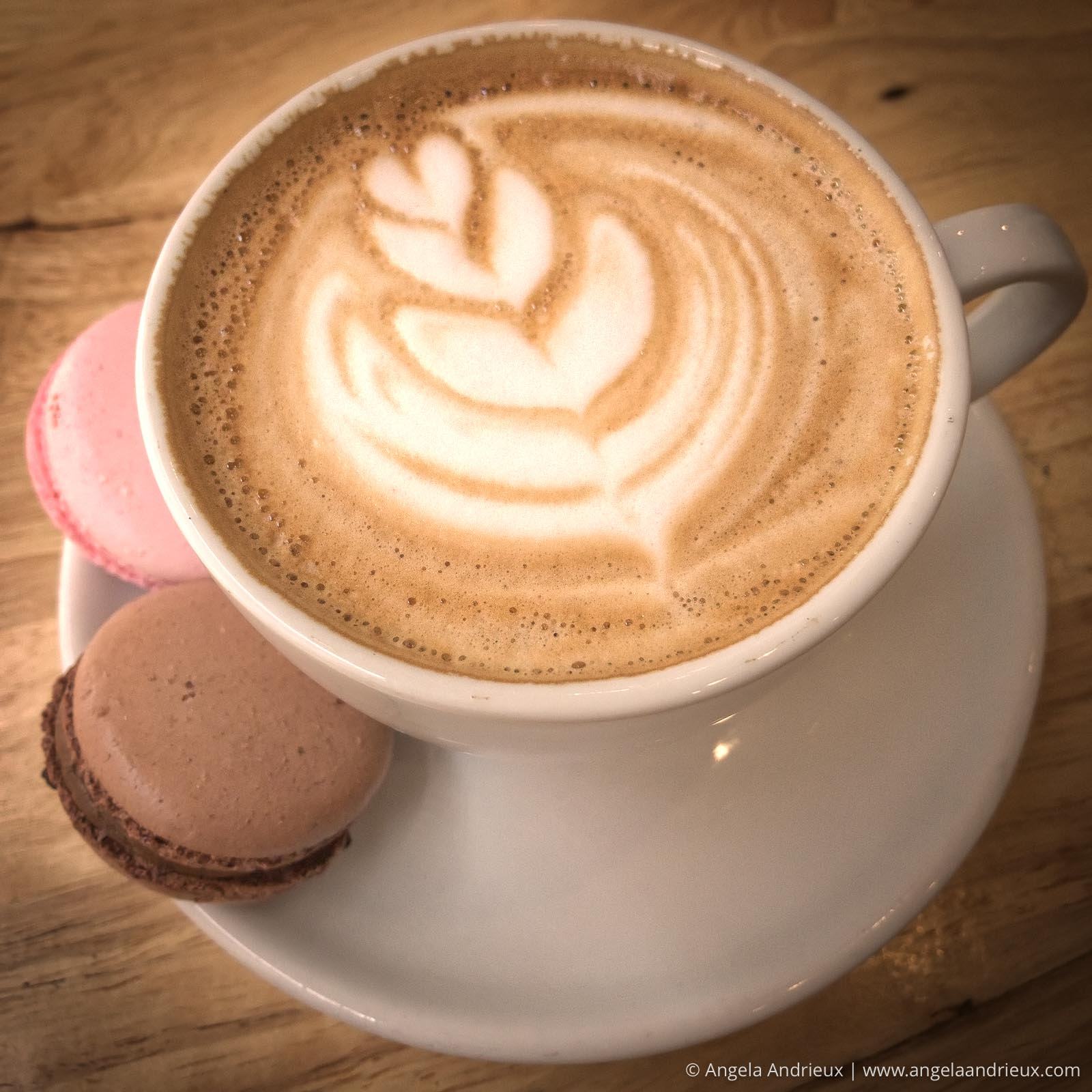Cappuccino and French macaroons at Cure coffeehouse in Norfolk, VA