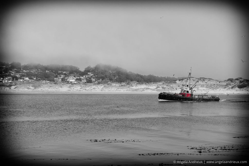 Fishing boat returning with the day's catch in Morro Bay, CA | Processed with selective color and a touch of red on the boat