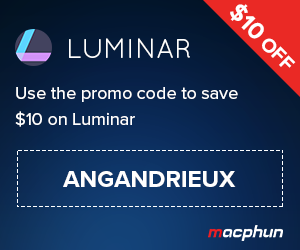 "Save $10 on Luminar by Macphun using coupon code ""angandrieux"" at checkout"