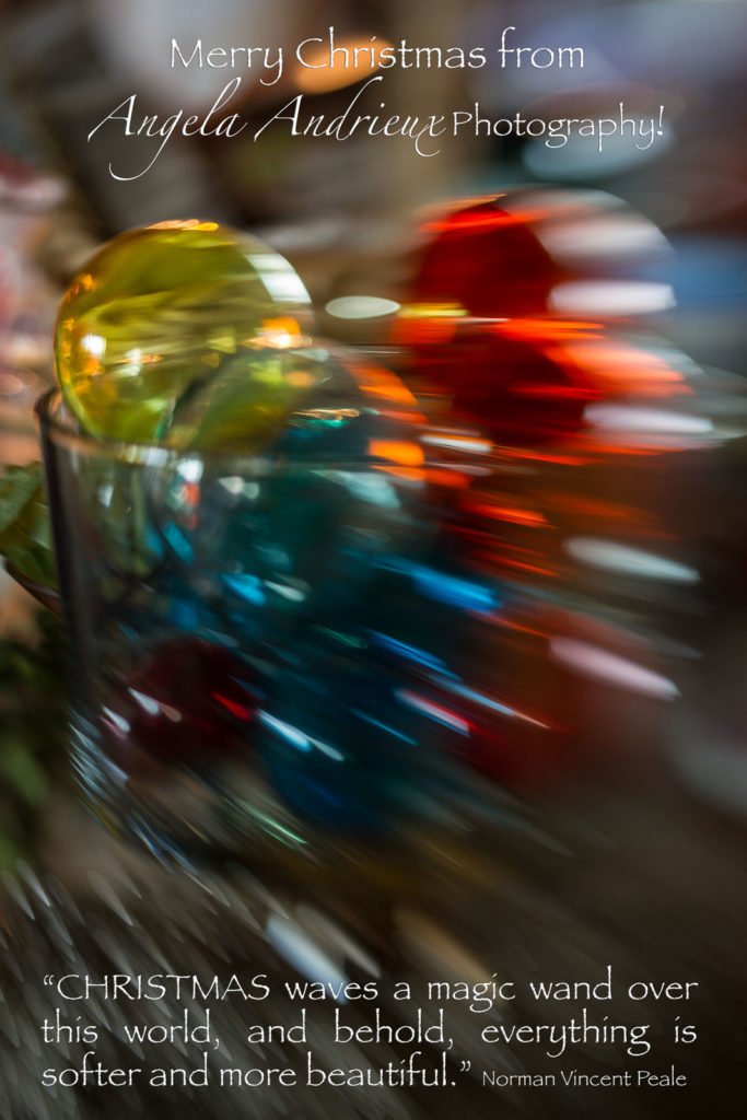 Merry Christmas from Angela Andrieux Photography | Colorful Ornaments captured with Lensbaby