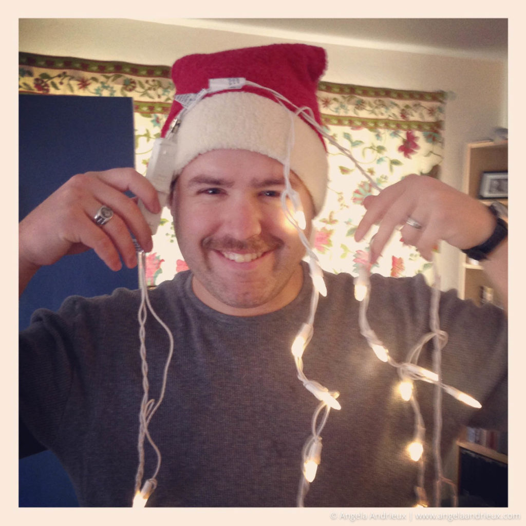 Silly husband with Christmas Lights