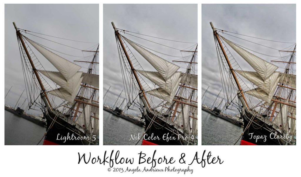 Workflow before and after Lightroom, Nik Color Efex Pro, and Topaz Clarity