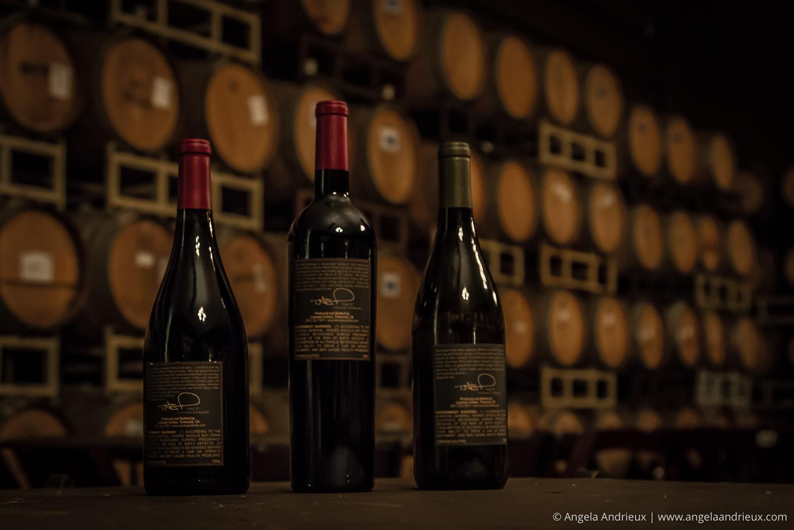 Wine bottles and barrels