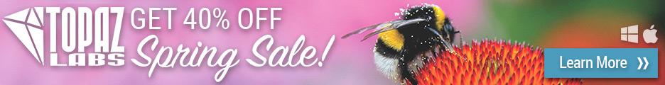 Topaz Labs Spring Sale Banner | Save 40%
