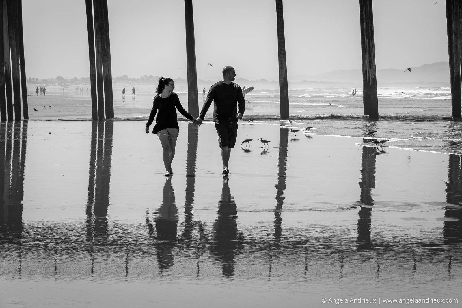 Lovers walking hand in hand | Pismo Beach Street Photography