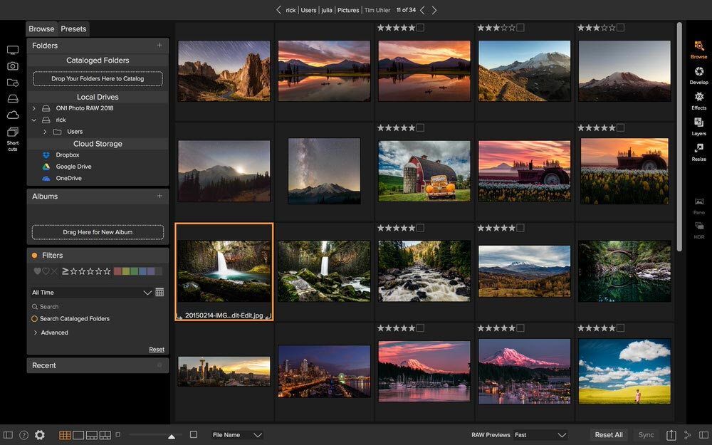 On1 Photo RAW 2018 - Browse