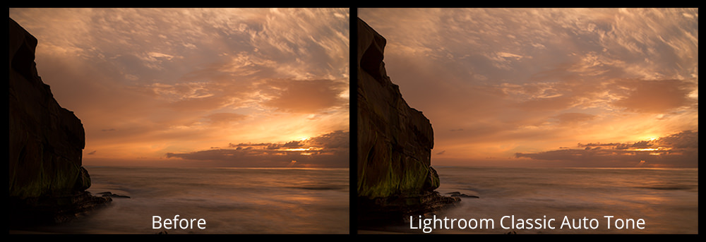 Before and After Lightroom Classic's Auto Tone with Adobe Sensei Technology | Artificial Intelligence in Photography Processing