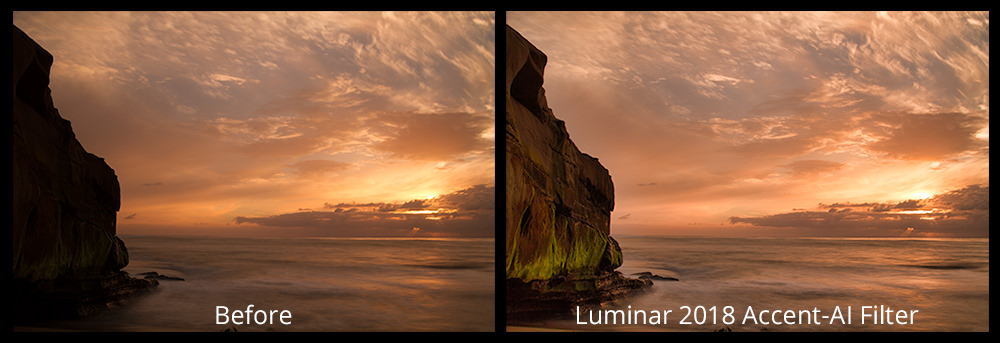 Before and After Luminar 2018's Accent-AI Filter | Artificial Intelligence in Photography Processing