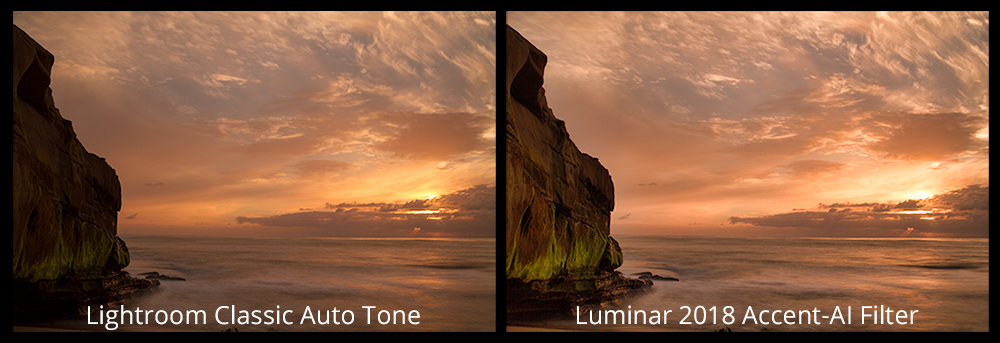 Lightroom Classic Auto Tone (left), Luminar 2018 Accent-AI Filter (right)