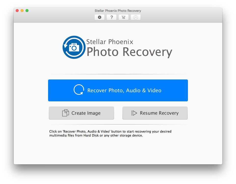 Stellar Phoenix Photo Recovery Welcome Screen