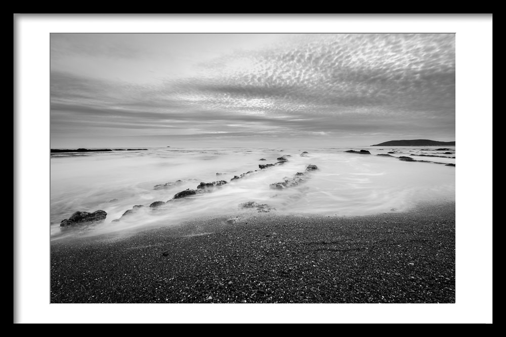 Shell Beach California Sunset in Black and White with Topaz Studio Digital Frame Adjustment