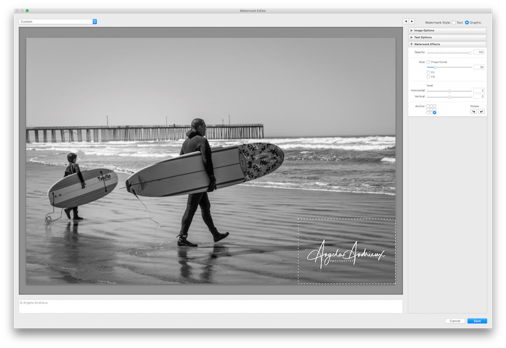 Selecting Anchor Point of Photologo in Lightroom