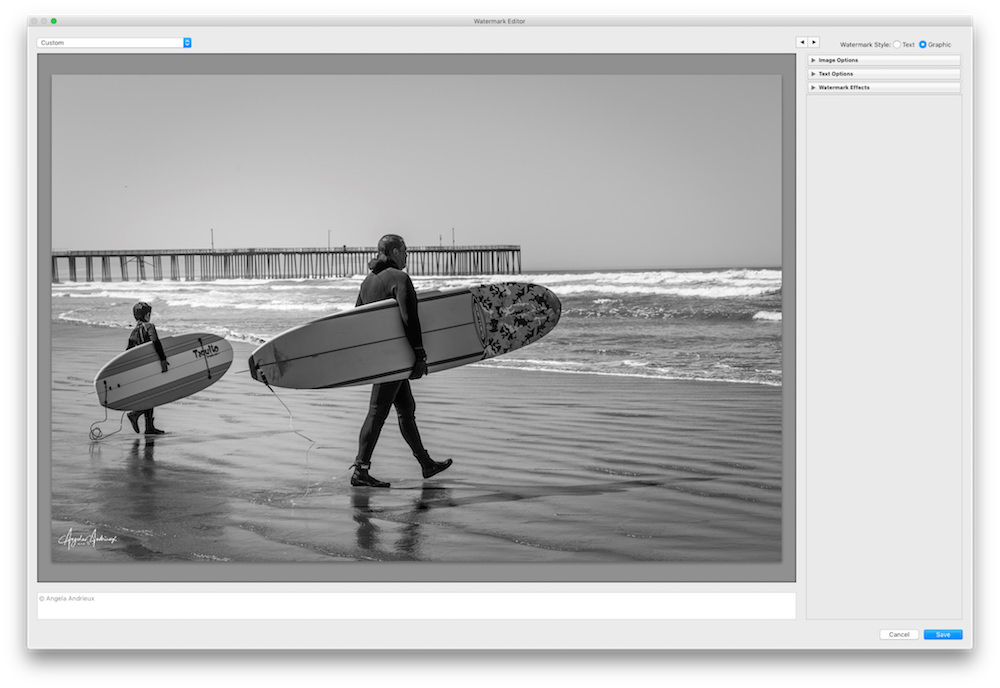 Default Placement of Photologo in Lightroo