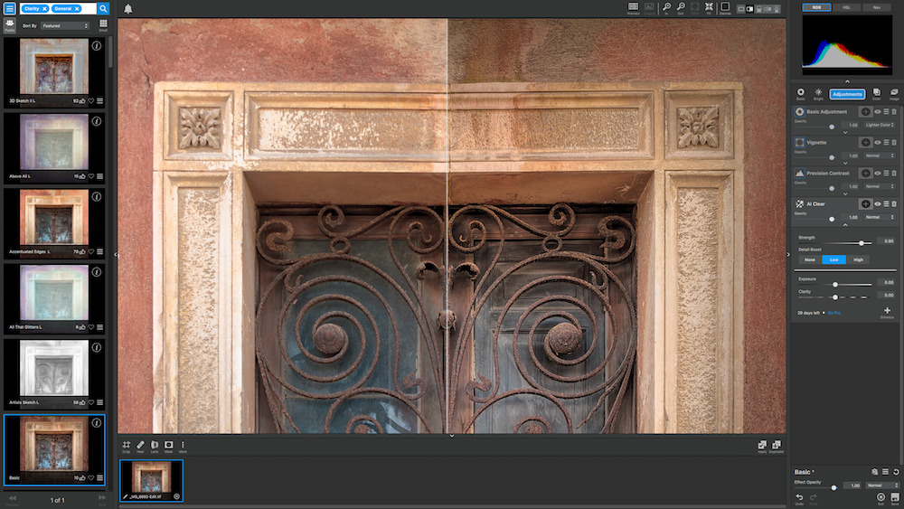 Before and After Topaz AI Clear Adjustment (Split Screen View) Screenshot